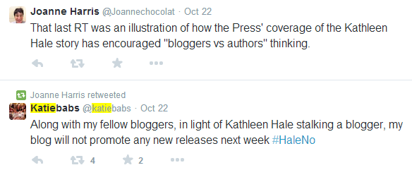 Joanne Harris bloggers vs authors