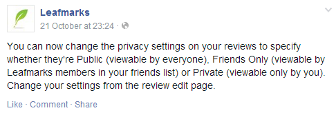 Leafmarks private reviews announcement on Facebook